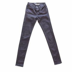 Levis Size 24 Black 710 Super Skinny Denim Jeans